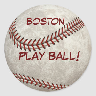 "Boston Baseball  ""Play Ball!"" American Past-time Classic Round Sticker"