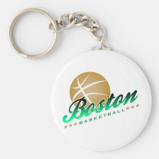 Boston Basketball Basic Round Button Keychain