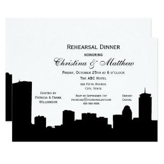 Boston Black Skyline Silhouette Rehearsal Dinner Card