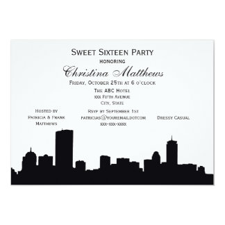 Boston Black Skyline Silhouette Sweet 16 Party Card