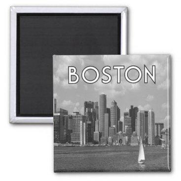 USA Themed Boston Black & White Magnet