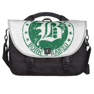 Boston born raised green laptop bag