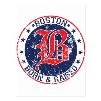 Boston born raised red postcard