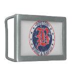 Boston born raised red rectangular belt buckle