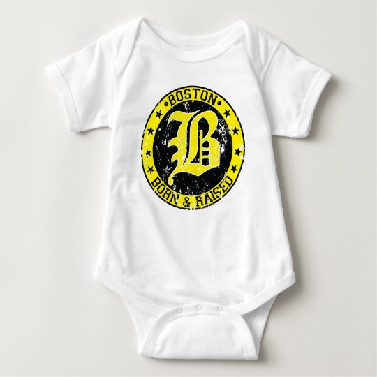 Boston born raised yellow baby bodysuit