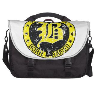 Boston born raised yellow laptop messenger bag