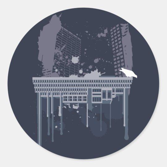 Boston Brutal (blue version) Classic Round Sticker