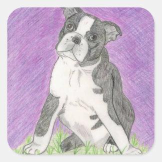 Boston Bull Dog Square Sticker