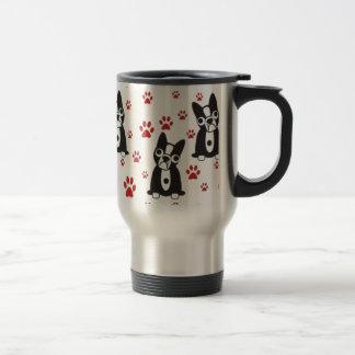 Boston Bulldog Paw Pattern Travel Mug