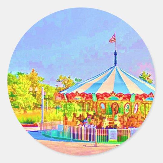 Boston Carousel by Shawna Mac Classic Round Sticker