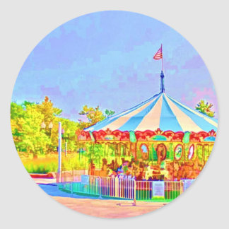 Boston Carousel by Shawna Mac Round Stickers