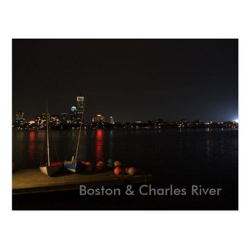 Boston & Charles River at night Postcard