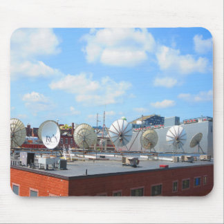 Boston city dish cable antenna roof top building mouse pad