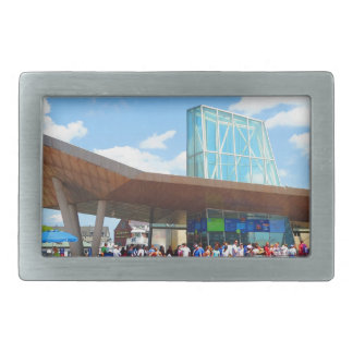 Boston city famous Aquarium view from Bus Window Belt Buckle