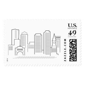 Boston City Skyline Postage Stamp