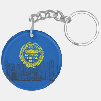 Boston City Strong Remembers on Blue Decor Double-Sided Round Acrylic Keychain