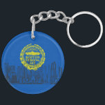 """Boston City Strong Remembers on Blue Decor Keychain<br><div class=""""desc"""">This Boston Strong remembrance style seal and cityscape custom gift for yourself or for someone special on your list. Here&#39;s a small sampling of our Boston Strong themed products. Use the &quot;Ask this Designer&quot; link to contact us with your special design requests or for some assistance with any of your...</div>"""