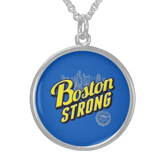 Boston City Strong Remembers on Blue Sterling Silver Necklace
