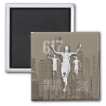 Boston City Strong Remembers on Taupe Decor 2 Inch Square Magnet