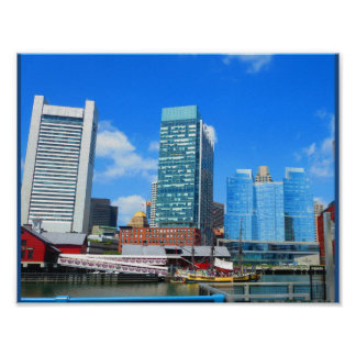 Boston City Urban Landscape towers buildings lake Poster