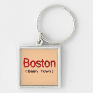 Boston (ciudad) de la haba 2 llavero cuadrado plateado