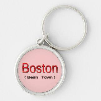 Boston (ciudad) de la haba 2 llavero redondo plateado