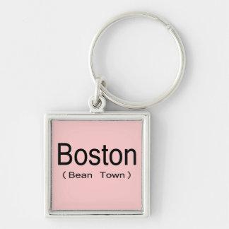Boston (ciudad de la haba) llavero cuadrado plateado