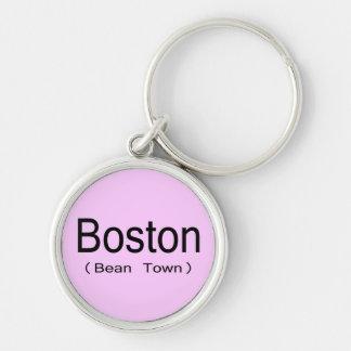 Boston (ciudad de la haba) llavero redondo plateado