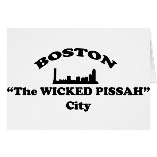 """Boston ciudad """"del Pissah travieso"""" Tarjeta De Felicitación"""