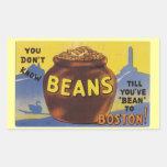 Boston coció habas pegatina rectangular