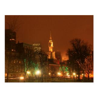 Boston Common Park Street Church Holiday Night Postcard