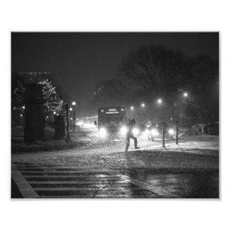 Boston Common snowstorm MA Black and White Photo Print