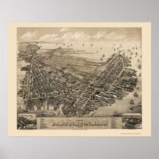 Boston del este, mapa panorámico del mA - 1879 Póster