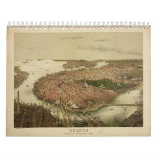 Boston del norte Massachusetts 1877 de Juan Calendario De Pared