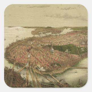 Boston del norte Massachusetts 1877 de Juan Calcomanias Cuadradas