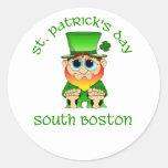 ~ Boston del sur del día de St Patrick Pegatinas Redondas