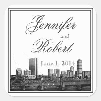 Boston Destination Wedding Envelope Seal Square Sticker