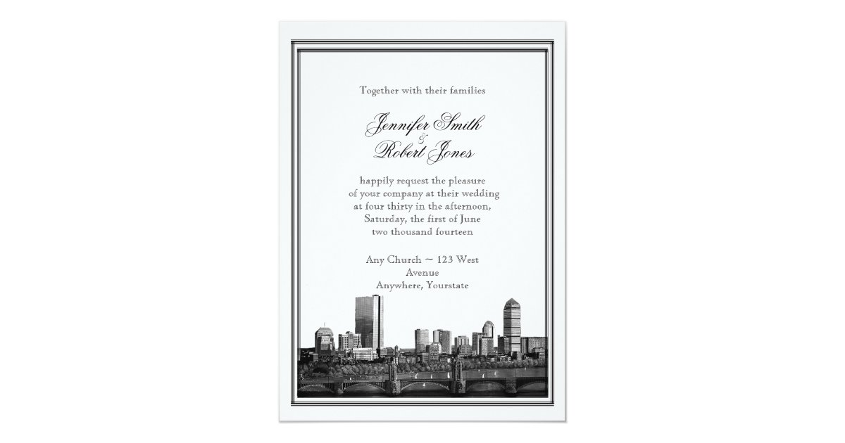 boston destination wedding invitation zazzle
