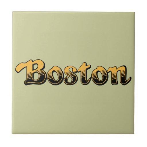 Boston en amarillo y rayas negras azulejo cuadrado pequeño