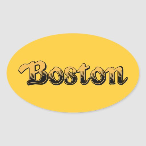 Boston en amarillo y rayas negras calcomania ovalada