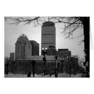 Boston en la nieve tarjeta de felicitación