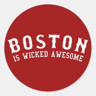Boston es impresionante travieso pegatina redonda