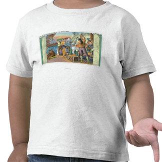 Boston escena de la fiesta del té de Massachusett Camisetas