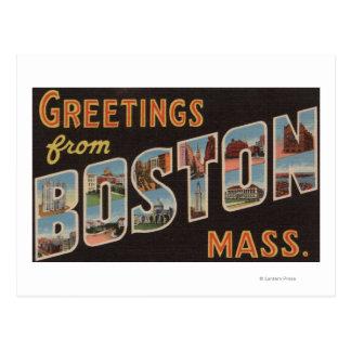 Boston escenas 3 de la letra de MassachusettsLarg Tarjeta Postal