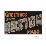 Boston, escenas 3 de la letra de MassachusettsLarg Tarjeta Postal