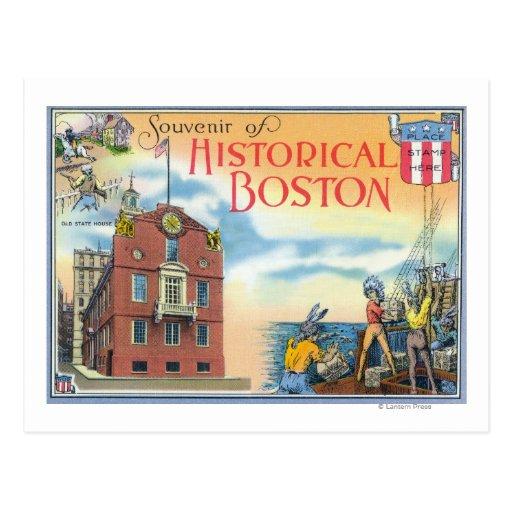 Boston, escenas de MassachusettsHistorical Boston Tarjeta Postal