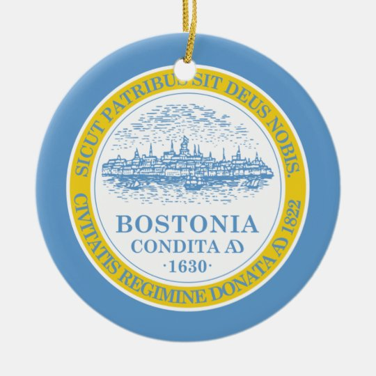 Boston Flag Ceramic Ornament