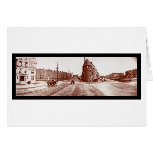 Boston, foto enorme 1903 de la calle del faro del tarjeta de felicitación