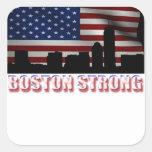 Boston fuerte calcomanías cuadradass