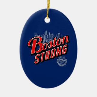 Boston fuerte en la decoración roja y azul adorno navideño ovalado de cerámica